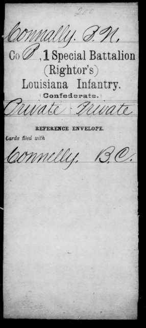 Connally, B N - Age [Blank], Year: [Blank] - First (Rightor's) Special Battalion, Infantry, A - F - Louisiana