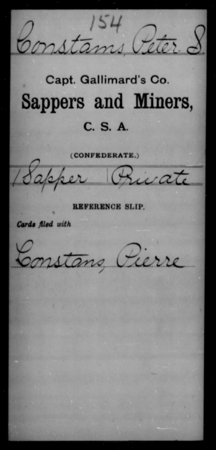 Constams, Peter S - Age [Blank], Year: [Blank] - Sappers and Miners, A-K - Raised Directly by the Confederate Government