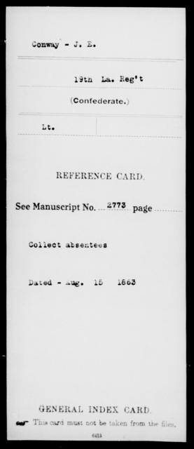 Conway, J E - Age [Blank], Year: [Blank] - Nineteenth Infantry, C - Fa - Louisiana