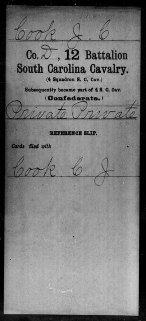 Cook, J C - Age: [Blank], Year: [BLANK] - South Carolina Twelfth Battalion, Cavalry (Fourth Squadron Cavalry)