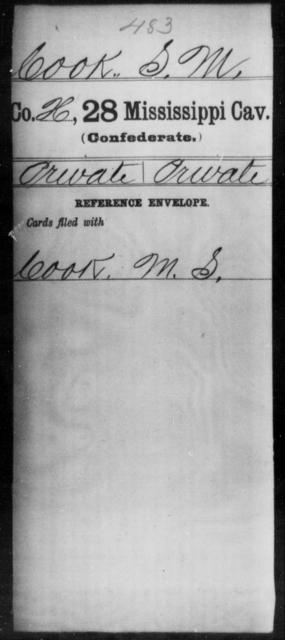 Cook, S M - Age: [Blank], Year: [BLANK] - Mississippi Twenty-eighth Cavalry, C-E