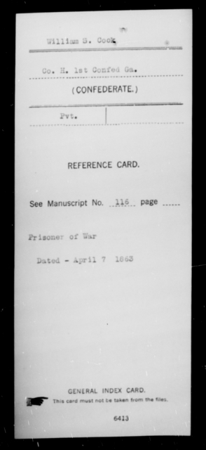 Cook, William S - Age [Blank], Year: [Blank] - First Confederate Infantry, C-E - Raised Directly by the Confederate Government