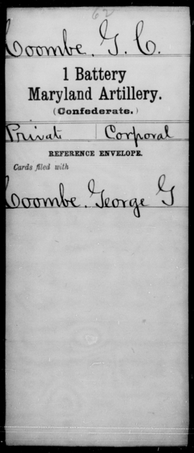 Coombe, G C - Age [Blank], Year: [Blank] - First Battery, Artillery, A-O - Maryland