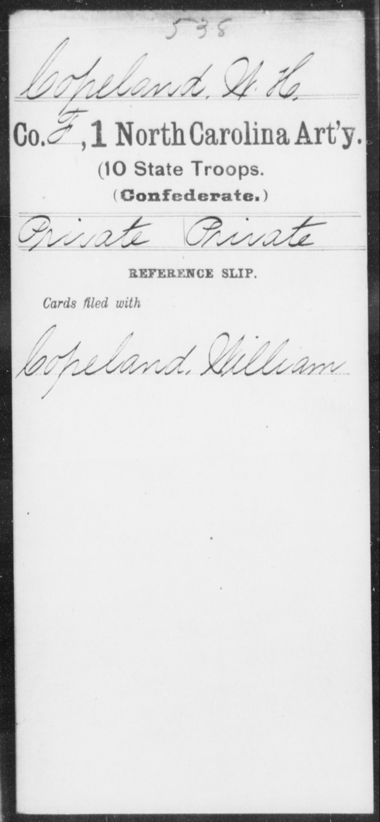 Copeland, W H - First Artillery (10th State Troops)