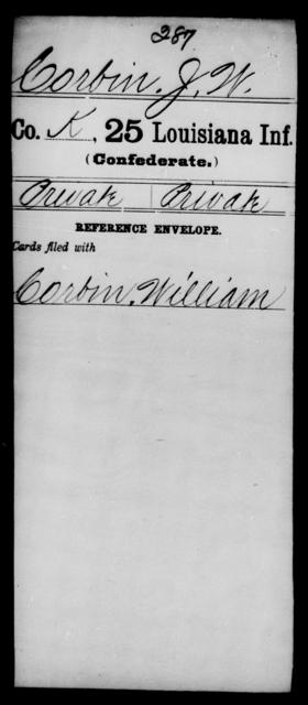 Corbin, J W - Age [Blank], Year: [Blank] - Twenty-fifth Infantry, A - Co - Louisiana