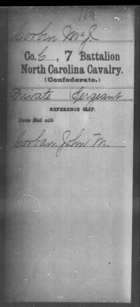 Corbin, Mc J - Seventh Battalion, Cavalry
