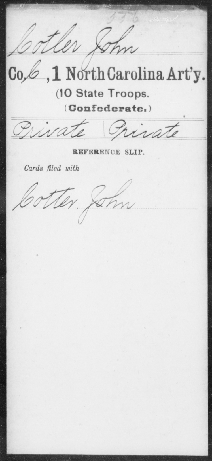 Cotler, John - First Artillery (10th State Troops)