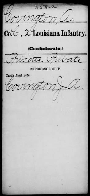 Covington, A - Age [Blank], Year: [Blank] - Second Infantry, Br - Co - Louisiana