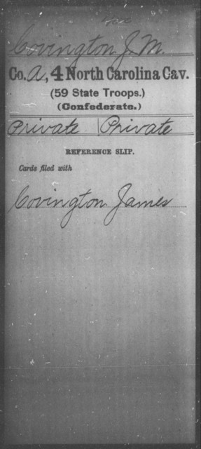 Covington, J M - Fourth Cavalry (59th State Troops)