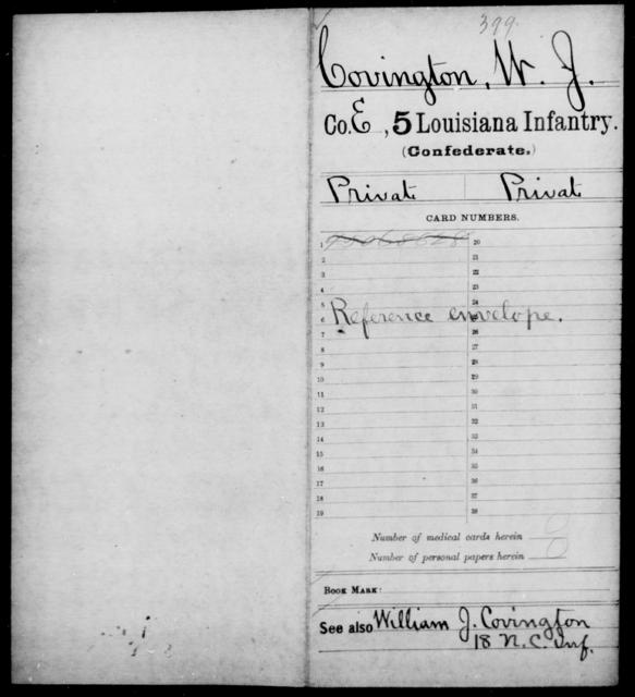 Covington, W J - Age [Blank], Year: [Blank] - Militia, R - Z - Louisiana