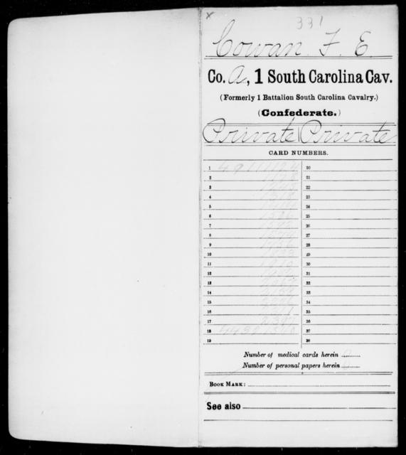 Cowan, F E - Age: 25, Year: 1861 - South Carolina First Cavalry C-E