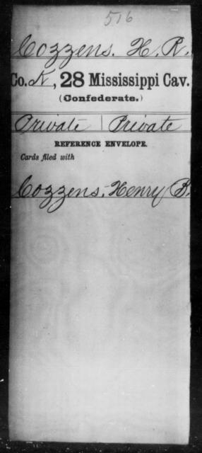 Cozzens, H R - Age: [Blank], Year: [BLANK] - Mississippi Twenty-eighth Cavalry, C-E