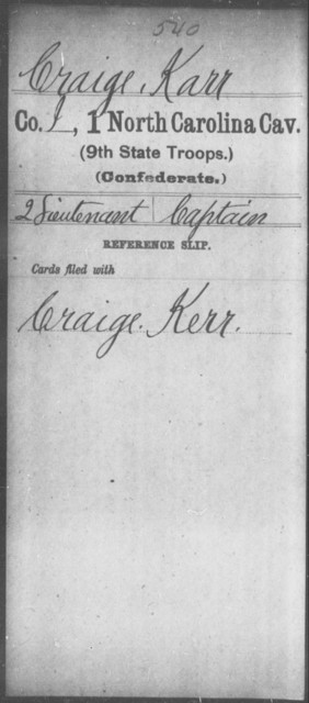 Craige, Karr - First Cavalry (Ninth State Troops)