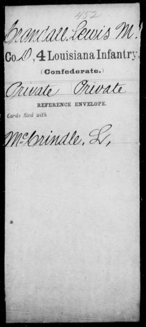 Crandall, Lewis M - Age [Blank], Year: [Blank] - Third Regiment, First Brigade, First Division, Militia,, A- K - Louisiana