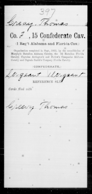 Creay, Thomas - Age [Blank], Year: [Blank] - Fifteenth Confederate Cavalry (1st Regiment, Alabama and Florida Cavalry), A-C - Raised Directly by the Confederate Government