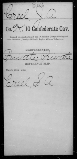Creel, J A - Age [Blank], Year: [Blank] - Tenth Confederate Cavalry, A-E - Raised Directly by the Confederate Government
