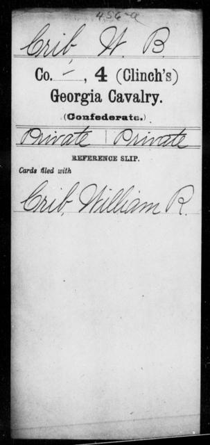 Crib, W B - 4th (Clinch's) Cavalry