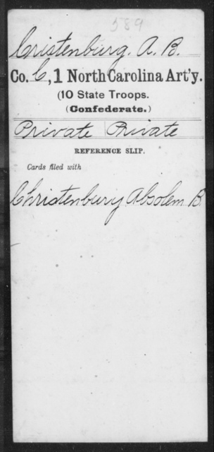 Cristenburg, A B - First Artillery (10th State Troops)