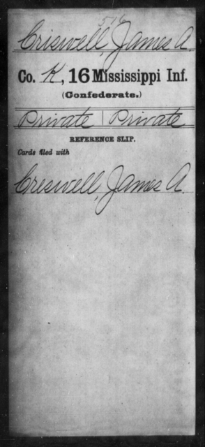 Criswell, James A - Age: [Blank], Year: [BLANK] - Mississippi Sixteenth Infantry, A, Coo-D