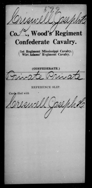 Criswell, Joseph H - Age [Blank], Year: [Blank] - Wood's Regiment, Confederate Cavalry, Ce-E - Raised Directly by the Confederate Government