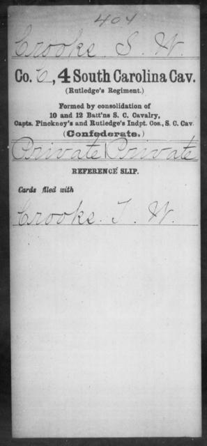 Crooks, S W - Age: [Blank], Year: [BLANK] - South Carolina Fourth Cavalry C-D