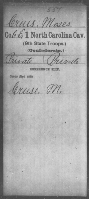 Cruis, Moses - First Cavalry (Ninth State Troops)