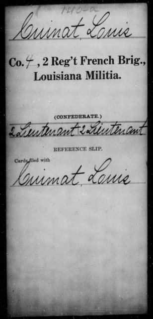 Cuinat, Louis - Age [Blank], Year: [Blank] - Second Regiment, French Brigade, Militia - Louisiana