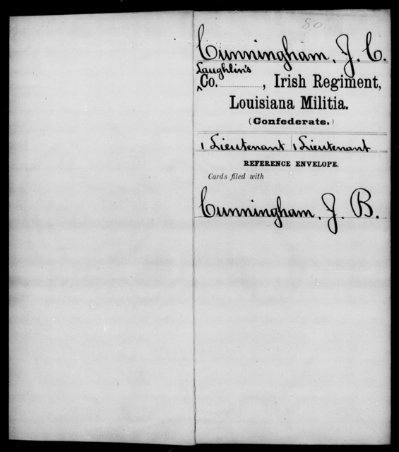 Cunningham, J C - Age [Blank], Year: [Blank] - Fire Battalion, Militia, S - Z AND Irish Regiment, Militia - Louisiana