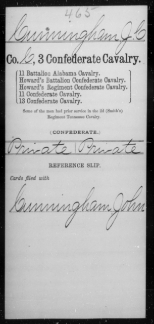 Cunningham, J C - Age [Blank], Year: [Blank] - Third Confederate Cavalry, A-C - Raised Directly by the Confederate Government