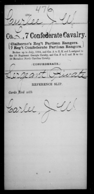 Curlee, J W - Age [Blank], Year: [Blank] - Seventh Confederate Cavalry, C-F - Raised Directly by the Confederate Government