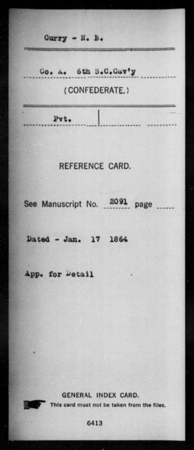 Curry, N B - Age: [Blank], Year: [BLANK] - South Carolina Sixth Cavalry C-F