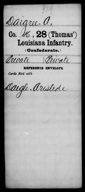 Daigree, A - Age [Blank], Year: [Blank] - Twenty-eighth (Thomas') Infantry, C - G - Louisiana