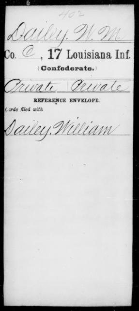 Dailey, W M - Age [Blank], Year: [Blank] - Seventeenth Infantry, Cl- F - Louisiana