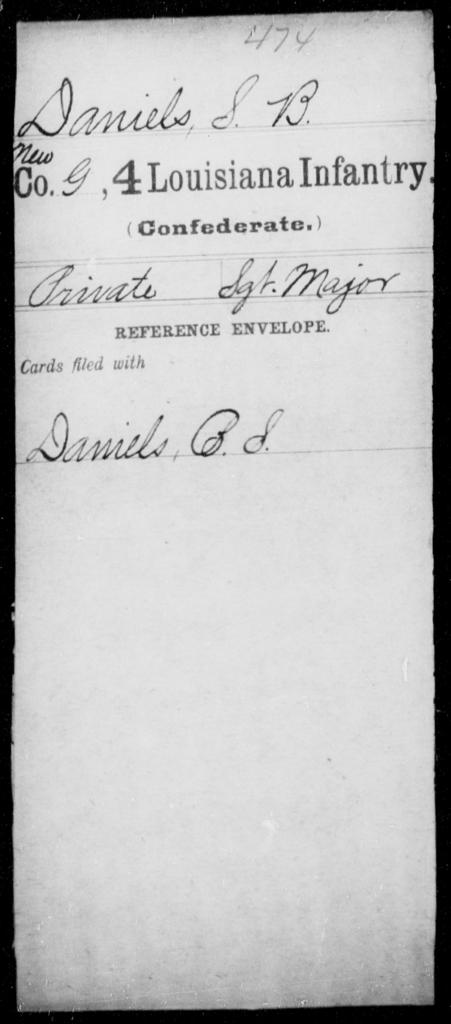 Daniels, S B - Age [Blank], Year: [Blank] - Third Regiment, First Brigade, First Division, Militia,, A- K - Louisiana