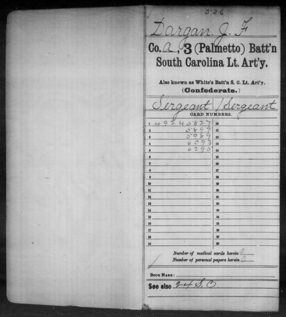 Dargan, J F - Age: [Blank], Year: 1862 - South Carolina Third (Palmetto) Battalion, Light Artillery C-Di