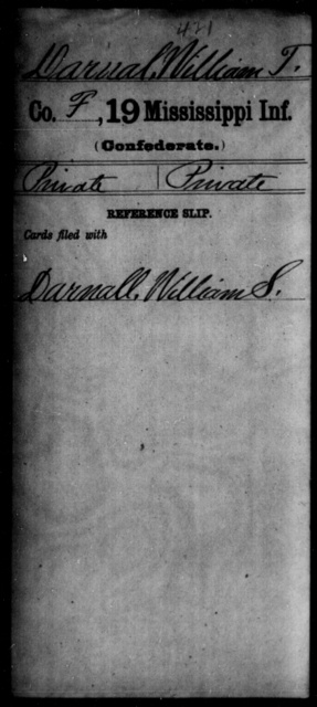 Darnal, William T - Age: [Blank], Year: 1861 - Mississippi Nineteenth Infantry, Cr-F