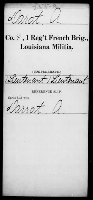 Darot, A - Age [Blank], Year: [Blank] - First Regiment, French Brigade, C - La - Louisiana