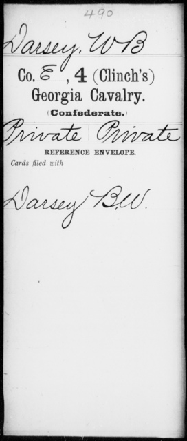 Darsey, W B - 4th (Clinch's) Cavalry