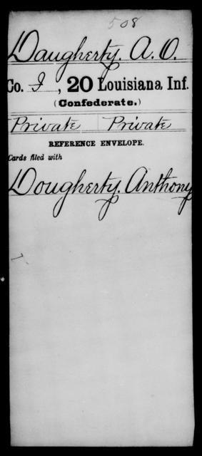 Daugherty, A O - Age [Blank], Year: [Blank] - Twentieth Infantry, C - D - Louisiana