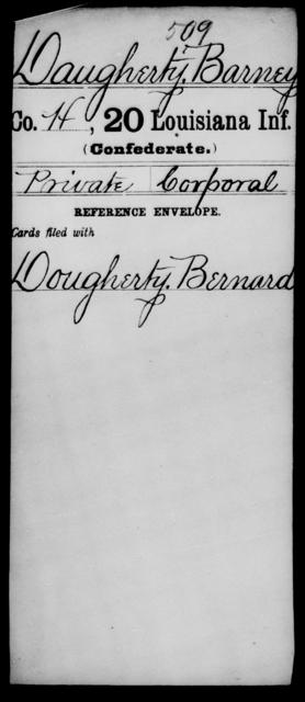Daugherty, Barney - Age [Blank], Year: [Blank] - Twentieth Infantry, C - D - Louisiana