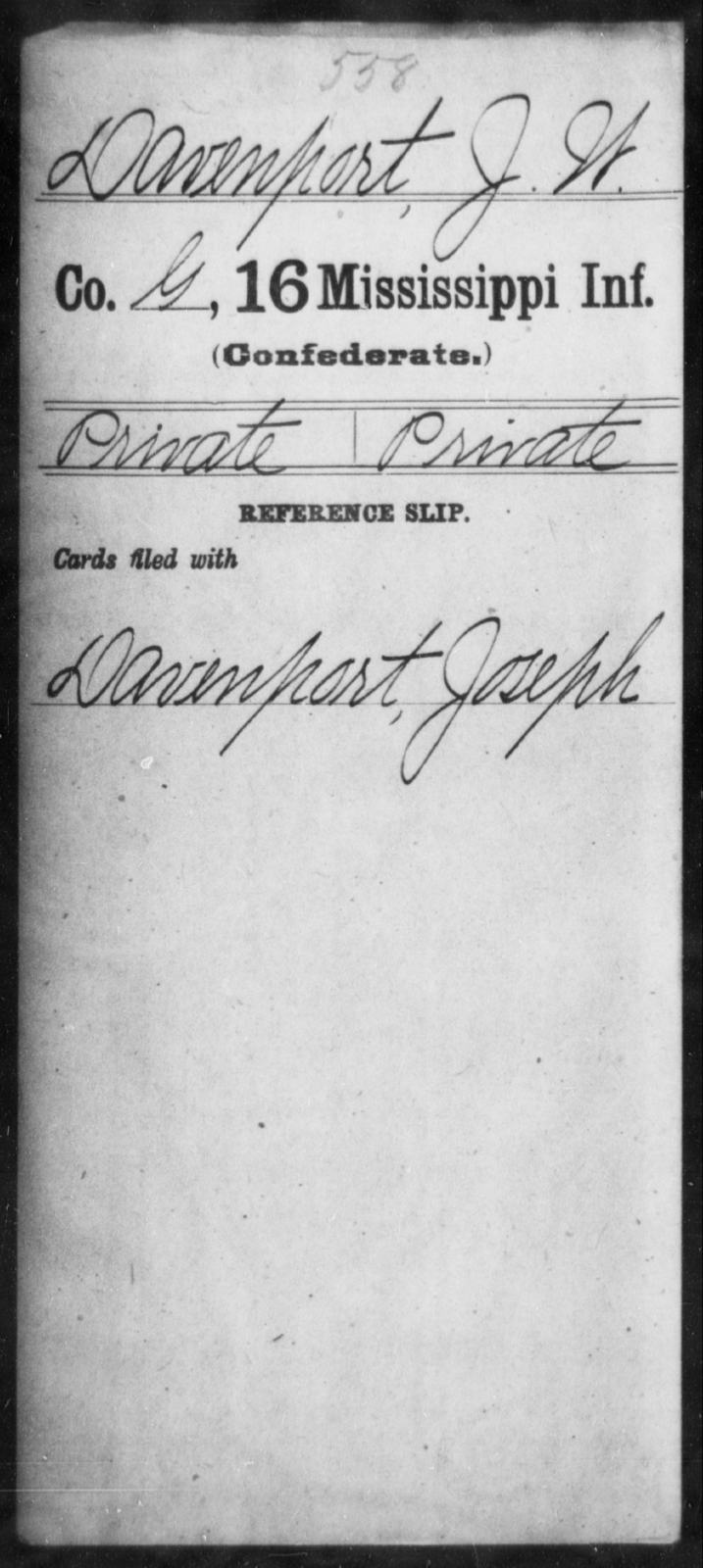 Davenport, J W - Age: [Blank], Year: [BLANK] - Mississippi Sixteenth Infantry, A, Coo-D