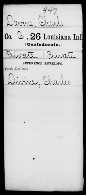 Davine, Charls - Age [Blank], Year: [Blank] - Twenty-sixth Infantry, Ce - Gr - Louisiana