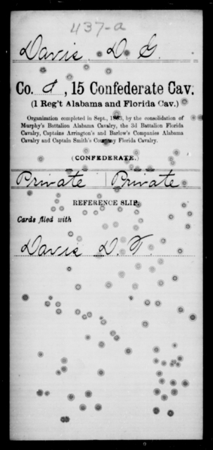 Davis, D G - Age [Blank], Year: [Blank] - Fifteenth Confederate Cavalry, D-Ha - Raised Directly by the Confederate Government
