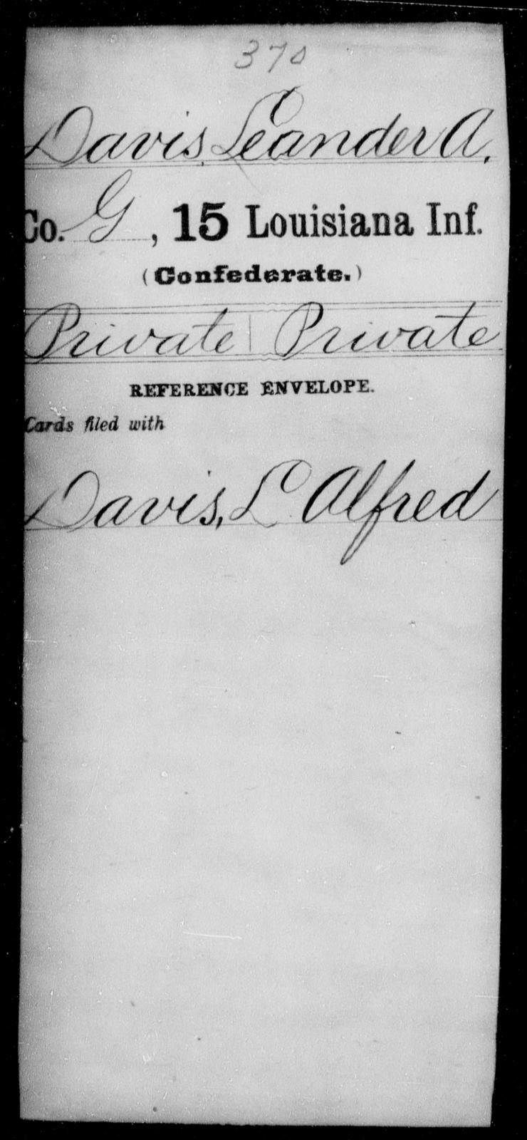 Davis, Leander A - Age [Blank], Year: [Blank] - Fifteenth Infantry, Cl - Em - Louisiana