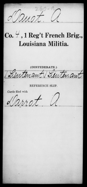 Davot, A - Age [Blank], Year: [Blank] - First Regiment, French Brigade, C - La - Louisiana