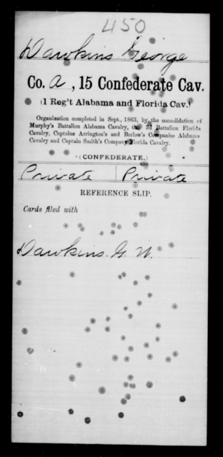 Dawkins, George - Age [Blank], Year: [Blank] - Fifteenth Confederate Cavalry, D-Ha - Raised Directly by the Confederate Government
