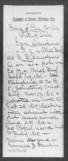 Dawkins, Sam - Age: [Blank], Year: [BLANK] - Mississippi Seventh-Infantry, C-E