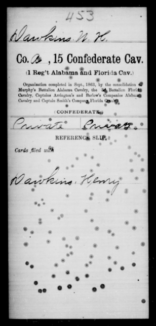 Dawkins, W H - Age [Blank], Year: [Blank] - Fifteenth Confederate Cavalry, D-Ha - Raised Directly by the Confederate Government