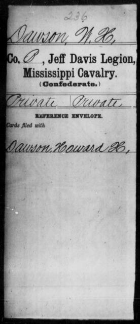 Dawson, W H - Age: [Blank], Year: [BLANK] - Mississippi Jeff Davis Legion, Cavalry, Co-F