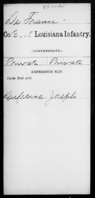 De France, [Blank] - Age [Blank], Year: [Blank] - Eighteenth Infantry, D - F - Louisiana